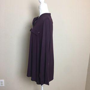 Avenue Tops - Avenue Purple 1/2 Zip Knit Roll Tab Plus Shirt
